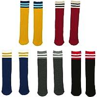 Fygood – Lote de 5 pares calcetines altos hasta la rodilla, niños, unisex, rayas rayas Talla:S(3-4ans/longueur 28cm)