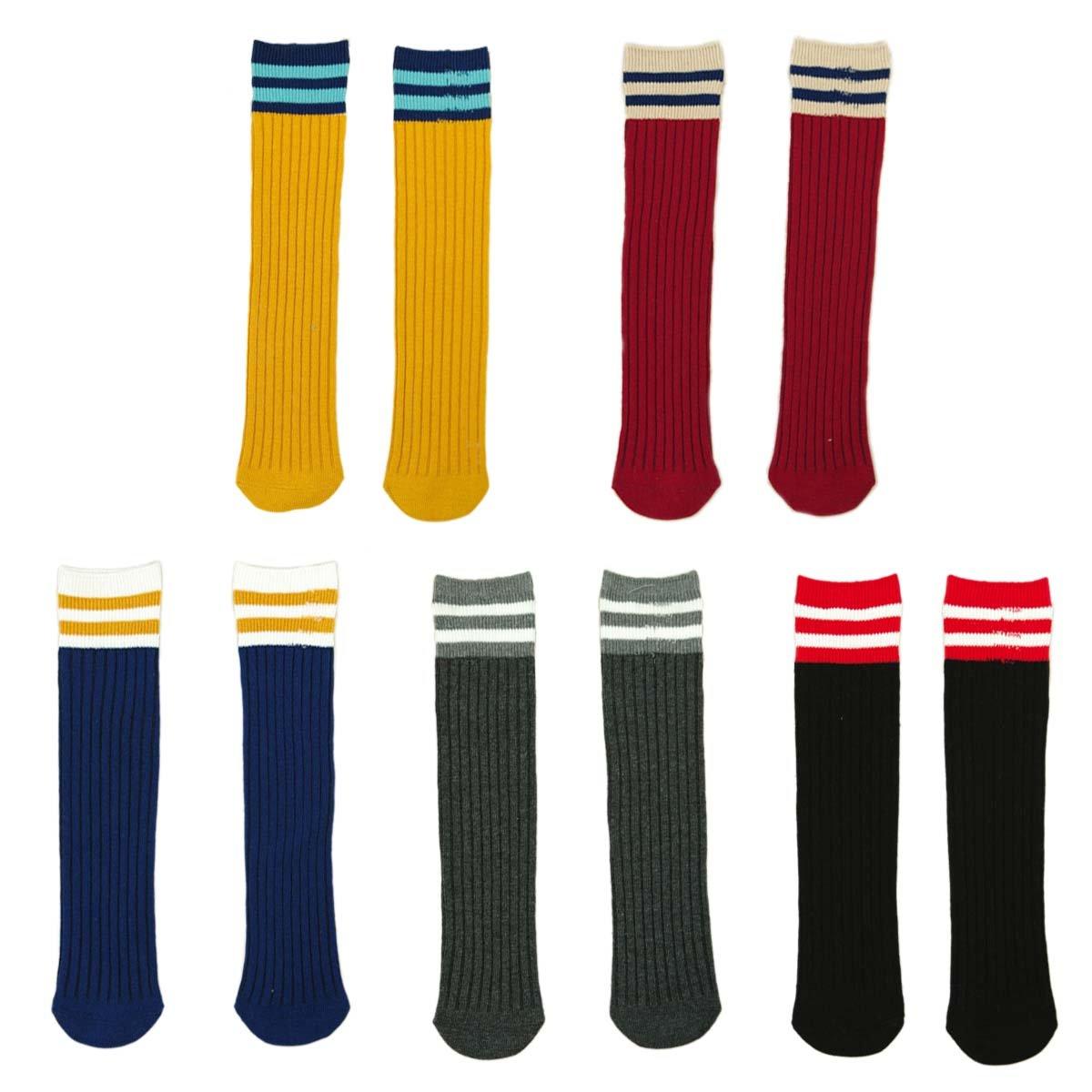 FYGOOD Lot de 5 Paires Chaussettes Hautes Genou Enfant Unisex rayures S(3-4ans/longueur 28cm)