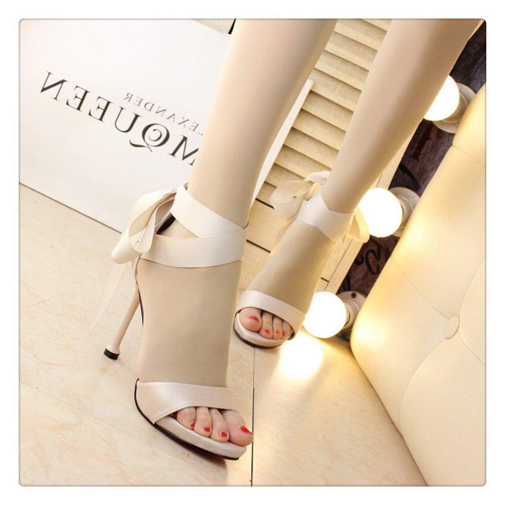 Sandalen High Heels Roman Schuhe Damen Catwalk Gut mit Gebundenen Band Mode Catwalk Damen Hochhackigen (Farbe : Beige, Größe : 36) Beige 5138e7