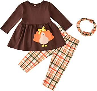 Thanksgiving Day Clothing Sets Kids Baby Girls Long Sleeve T-Shirt Tops Dress+ Turkey Legging Scarf Festival Outfit