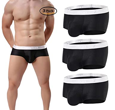 0bfa1be02 3 Pack Mens Underwear Boxer Briefs Sexy Short Leg Soft Bulge Pouch Trunk  Underpants No Fly