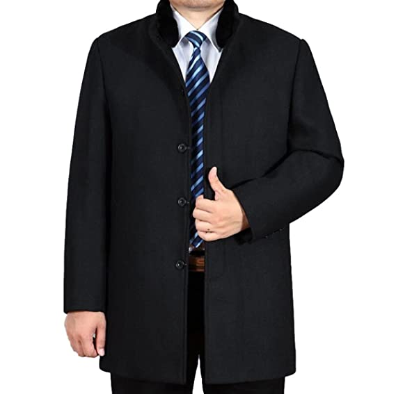 PFSYR Manteau en Laine pour Hommes Coupe Longue Manteau en