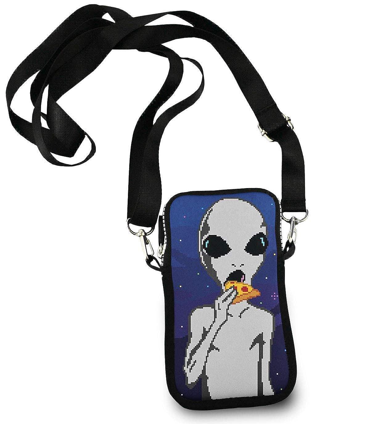 Cell Phone Purse Mini Crossbody Bag Smartphone Wallet Headphone Bag Alien Eat Pizza Cool