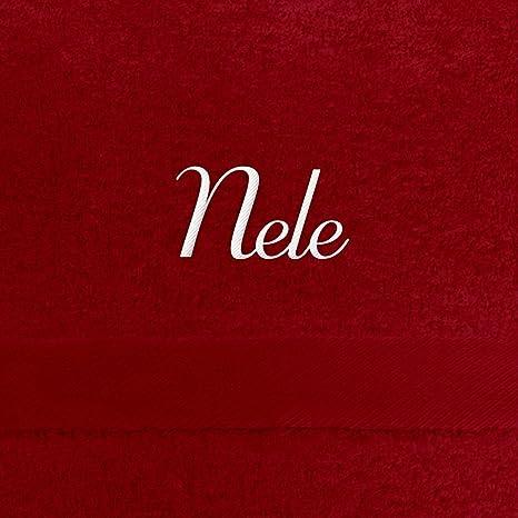 Toalla de baño con nombres Nele bordados, 70 x 140 cm, Rojo, extra