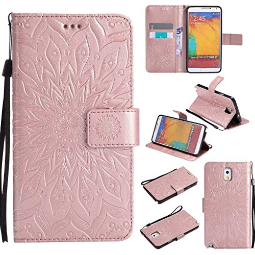 Galaxy Note 3 Case, KKEIKO® Galaxy Note 3 Flip Leather Case [with Free Tempered Glass Screen Protector], Shockproof Bumper Cover and Premium Wallet Case for Samsung Galaxy Note 3 (Pink #2)
