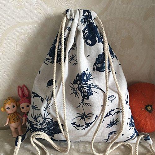Yile cotone lino zaino sacca per scarpe assortiti stampa blu fiore B41