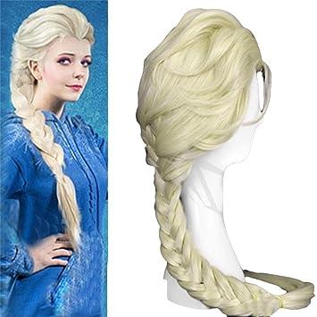 Peluca de carnaval Elsa reina princesa pelo rubio cosplay niños adultos