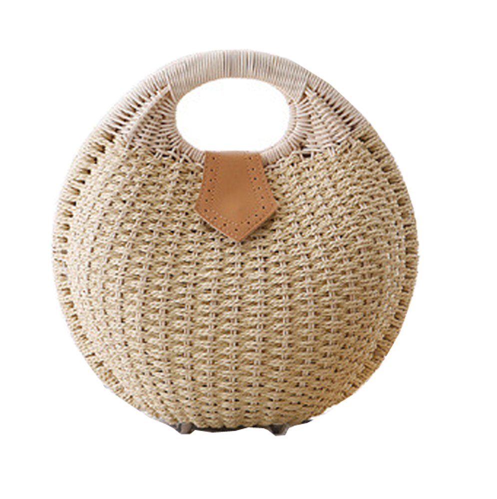 Pulama Wicker Woven Straw Beach Bucket Summer Fashion Vacation Women Top Handle Handbag Beige Round