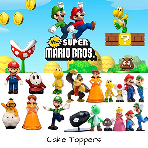 - Super Mario Brothers Cake Topper | 18 Piece Action Figures