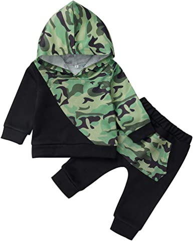 FORESTIME Toddler Kids Baby Boy Letter Cute Fashion T Shirt Tops+Camouflage Pants Outfits Clothes Set