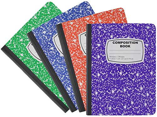 (Emraw Marble Style Colored Cover Composition Book with 100 Sheets of Wide Ruled White Paper - Set Colors: Red, Green, Purple, Blue, Marble Covers (3 Random Pack))