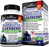 Health & Personal Care : Sambucus Elderberry Capsules with Zinc & Vitamin C - Women & Men's Daily Herbal Supplement for Immune Support, Skin Health - Powerful Antioxidant - Natural Elderberries - 60 Day Supply - Veggie Caps
