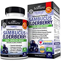 Sambucus Elderberry Capsules with Zinc & Vitamin C - Women & Men's Daily Herbal Supplement for Immune Support, Skin Health - Powerful Antioxidant - Natural Elderberries - 60 Day Supply - Veggie Caps