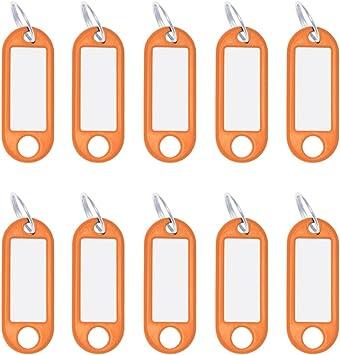 10x Kunststoff Schlüsselanhänger Etikett beschriftbar rosa mit S-Haken