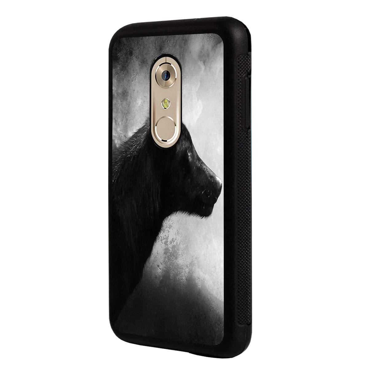 LG Q7 Case,LG Q7 Plus Case,BOSLIVE Black Wolf Background Design TPU Slim Anti-Scratch Protective Cover Case for LG Q7 /LG Q7 Plus