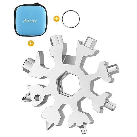 Aitsite Multi herramienta copo de nieve Tarjeta de la herramienta del copo de nieve Destornillador multi-herramienta de acero Llavero Abrebotellas ...