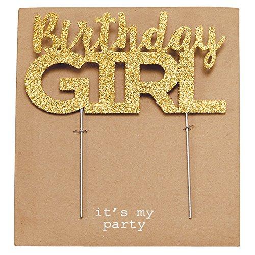 Mud Pie Birthday Girl Gold Cake Topper, Gold