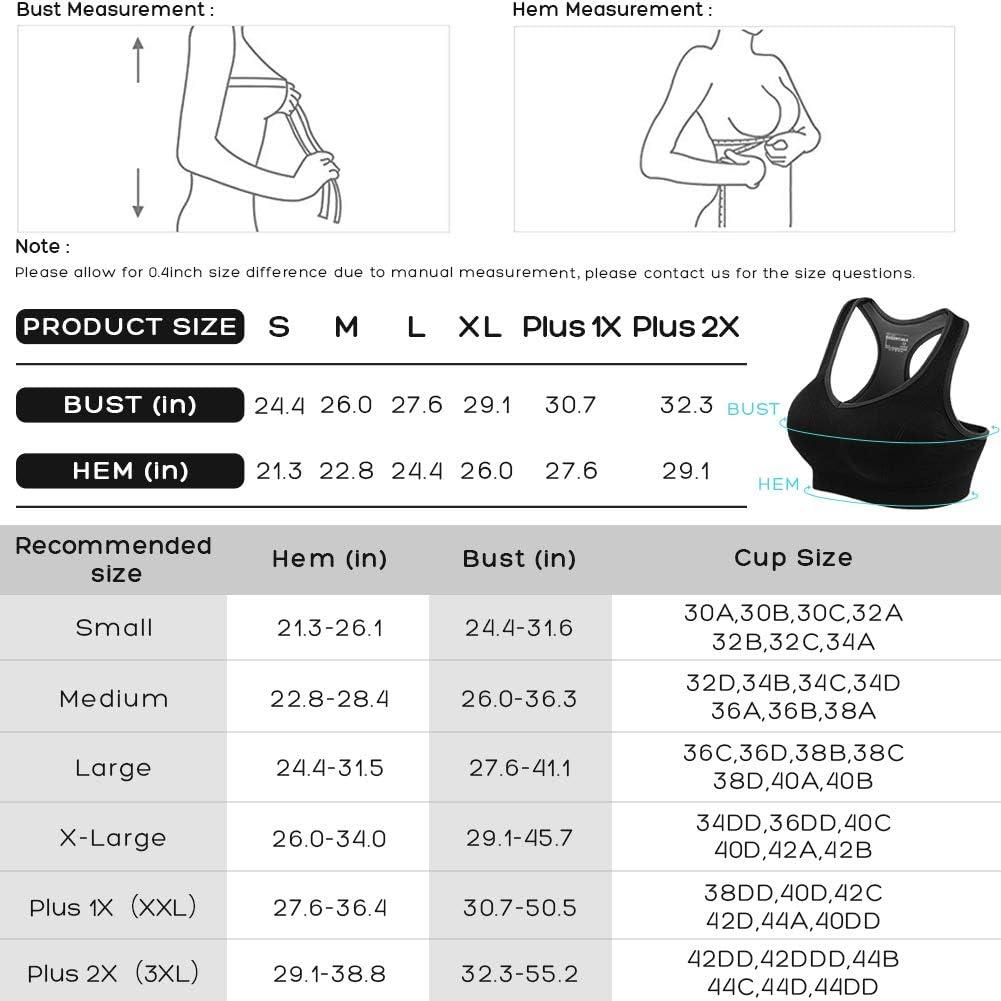 FITTIN Racerback Deportes Sujetador/ /Acolchado Seamless Alto Impacto Apoyo para Yoga Gimnasio Entrenamiento Fitness