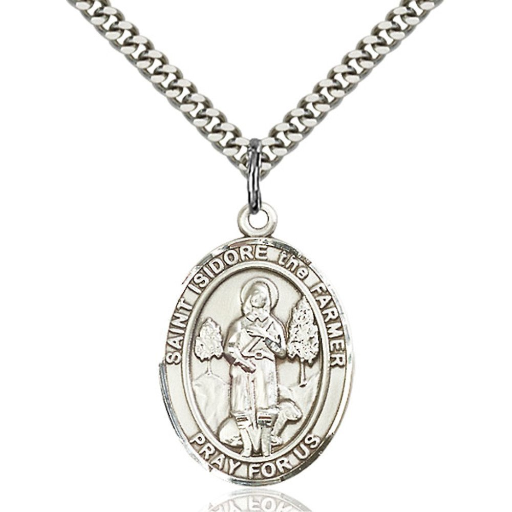 Isidore The Farmer Hand-Crafted Oval Medal Pendant in Sterling Silver Bonyak Jewelry St