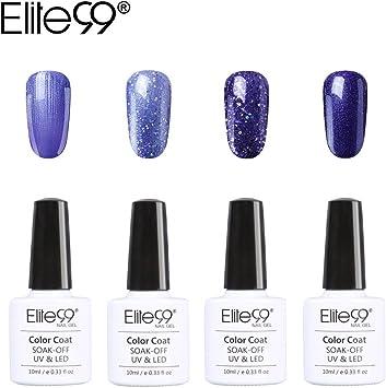 Elite99 Esmalte Semipermanente Esmalte de Uñas Gel UV LED 4pcs Kit de Manicura Color Serie de Morado Lila Violeta Soak off 10ml - Kit 009: Amazon.es: Belleza
