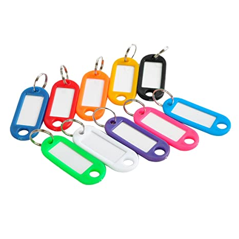 joyliveCY 100 pcs plástico Clave etiquetas etiqueta de identificación con anilla llavero etiqueta tarjeta