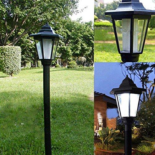 XGao Outdoor Solar Post Lamp Led Street Light Vintage Retro Waterproof Lights for Patio Garden Yard to 12 Hours (Black)