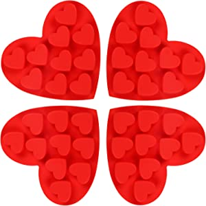 4 Pieces Heart Shape Silicone Molds Non-stick Chocolate Candy Molds Silicone Baking Molds for Valentine's Day Chocolate, Fondant, Pudding, Cake, Candy, Cookie, Ice Cube, Soap Making