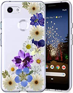 Unov Pixel 3a XL Case Clear with Design Soft TPU Shock Absorption Slim Embossed Floral Pattern Protective Back Cover for Pixel 3a XL 6 inch (Flower Blossom)