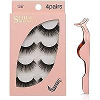 3D Mink Eyelashes, Falses Eyelashes, Face Eyelashes, Mink False Lashes, Handmade Falses Eye Lashes Set for Natural Look with Eyelashes Clip (G103)