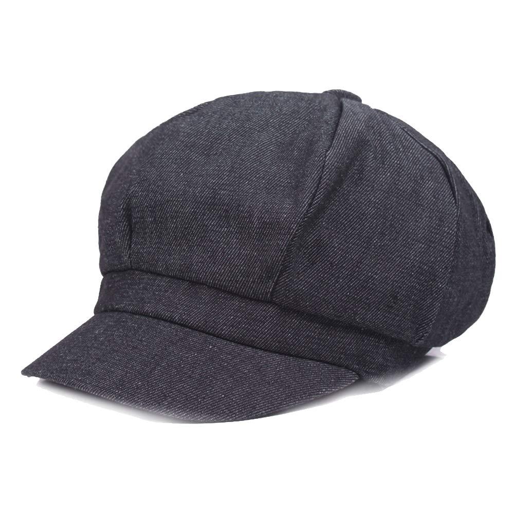 Opromo Women's Washed Denim Newsboy Gatsby Cabbie Hat Jean Berets Octagonal Cap-Black-24PCS