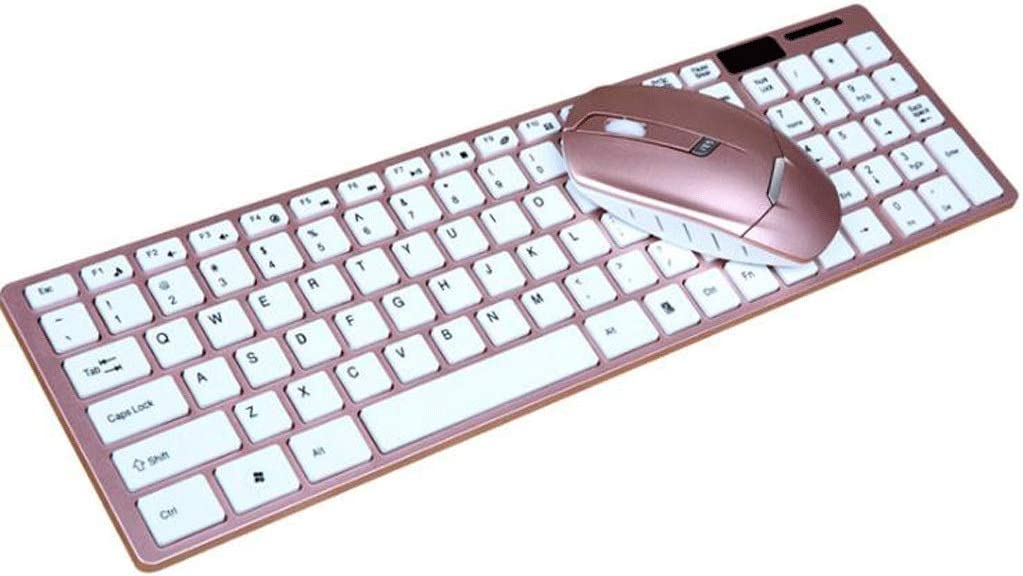 Color : Pink Ultra Slim Wireless Keyboard and Mouse Set Office Home Laptop Desktop Mechanical Feel Game Mute