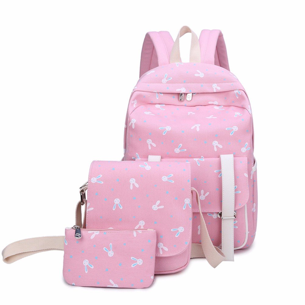 1df65f551f Tela borsa a tracolla, tracolla, tracolla, campus, studentessa di scuola  media di borsa, carino stampato la scuola primaria,la luce rosa tre pezzi  1448f0