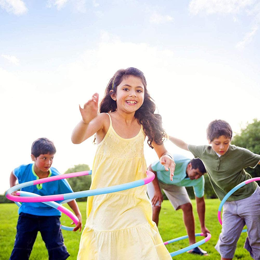 Hoop Exercice Lest/é Enfants Portable Gymnastique en Plastique Remise en Forme Amovible pour Les Enfants Hoop Bleu Rouge