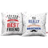 Indibni Perfect Sister-Favorite Brother Quote Cushion Cover Combo Set of 2 White - 12x12 with Filler Gift for Bro Sis Birthday
