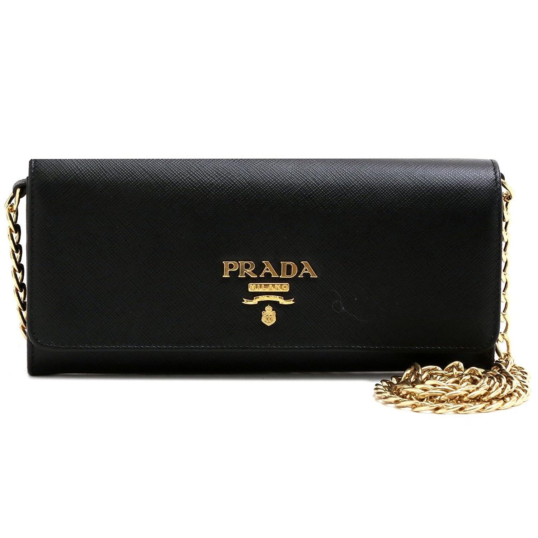 (プラダ) PRADA 斜め掛け 長財布 2つ折りメタルロゴ 型押しレザー チェーン ブラック 1BP290 SAFFIANO LUX NERO B077BV21F6