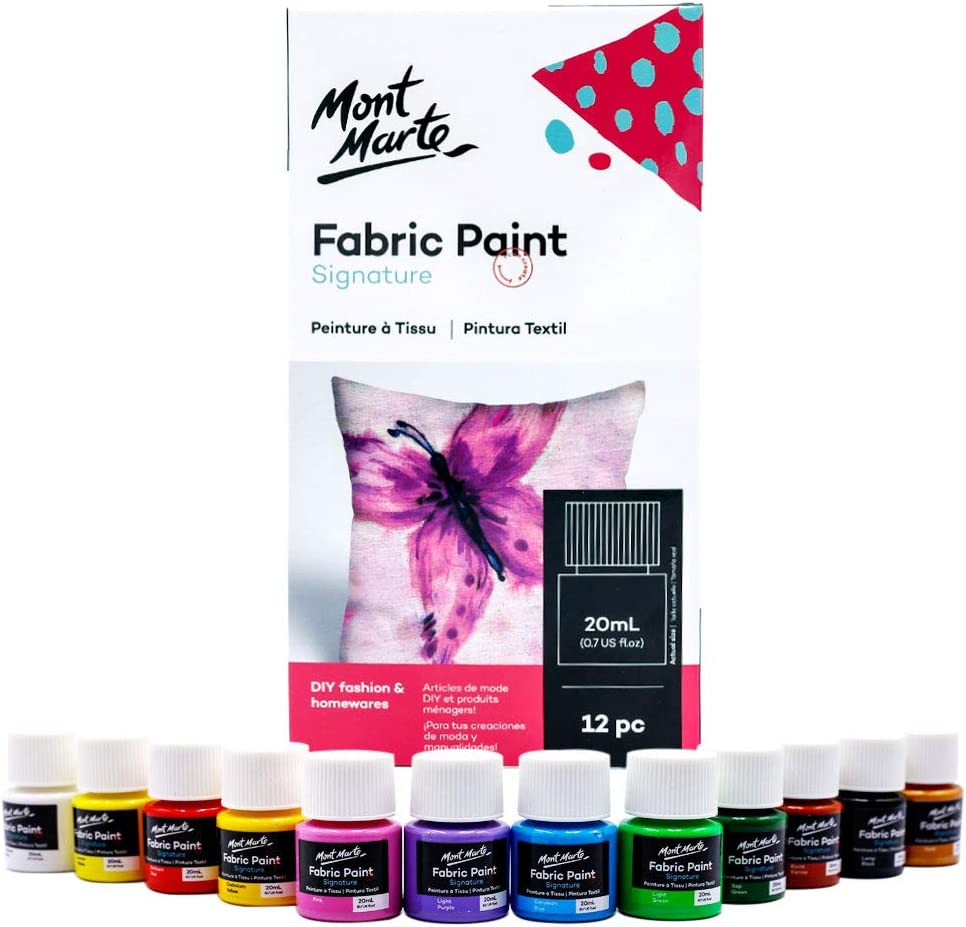 Amazon Com Mont Marte Signature Fabric Paint 12pc X 0 7oz 20ml Suitable For Diy Fashion And Homewares Arts Crafts Sewing