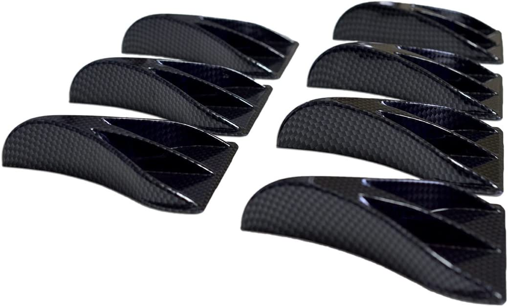 VMS Racing 7 PC Piece Carbon Fiber Look Universal Vortex Generators Roof Shark Fins Spoiler Wing Kit (Set of Seven) Black for Car Truck SUV