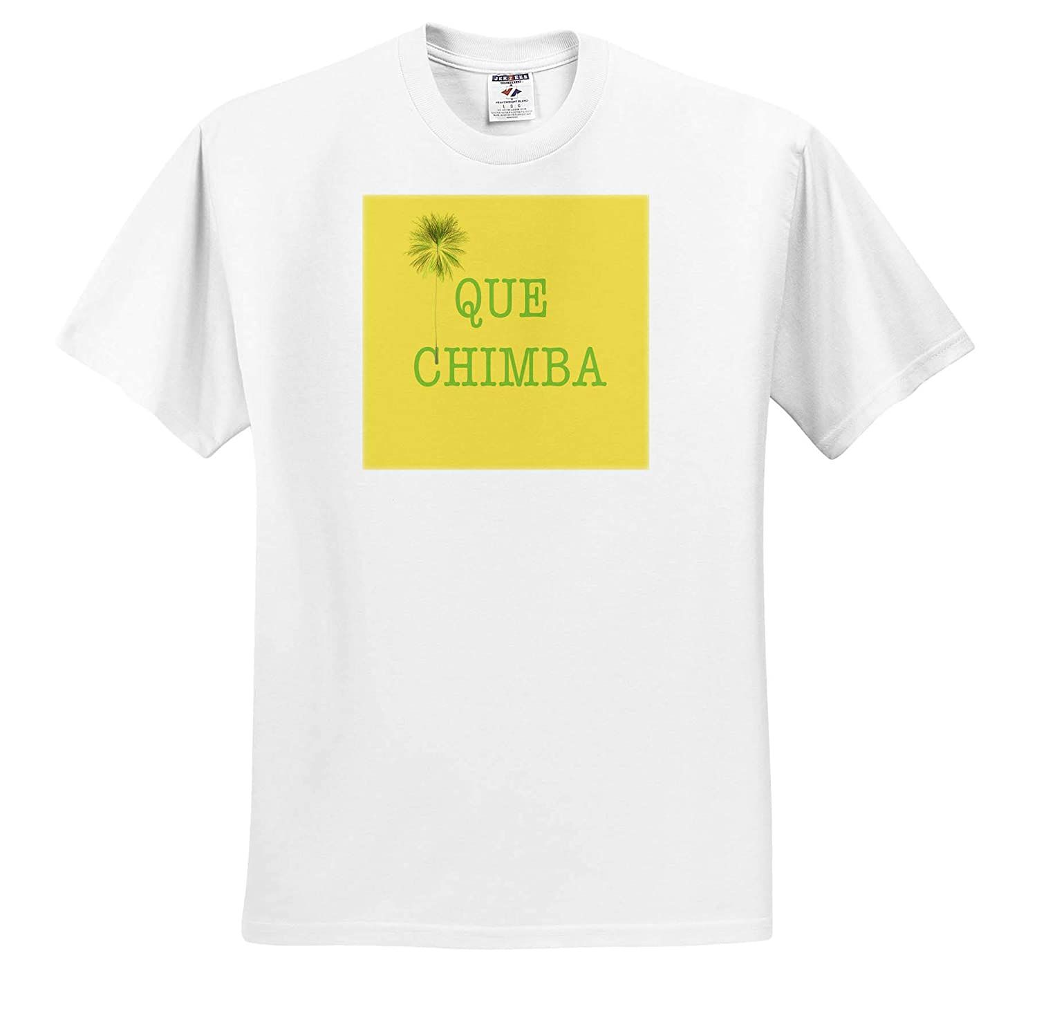 3dRose Kike Calvo Colombia Folklore and Traditions Green Que Chimba with Palm Tree on Yellow Background T-Shirts