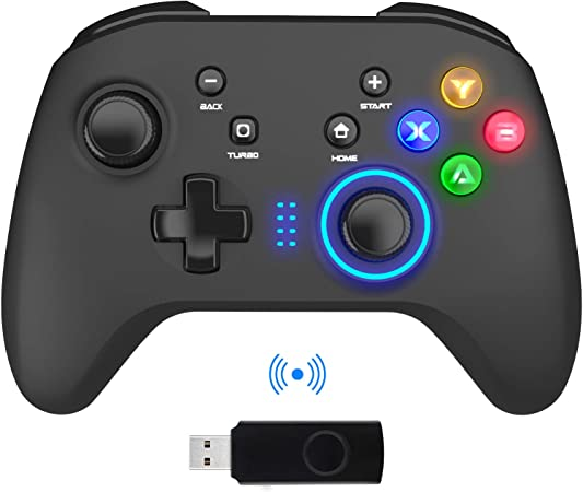 Amazon.com: Wireless Gaming Controller, PC Video Gamepad Joystick with Dual  Vibration and Remap M1-M4 Triggers, 2.4G Remote Game Console for Windows  7/8/10/XP/Laptop, PS3, Switch, Android, TV Box: Computers & Accessories