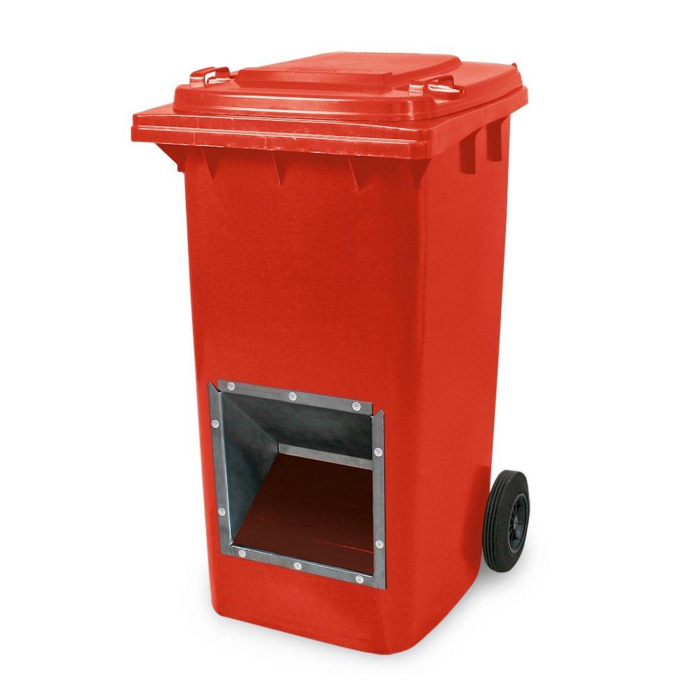 Mobiler Streugutbehälter, Salzstreubehälter 240 Liter, mit Entnahmeöffnung, auch für Streusplit, rot BRB