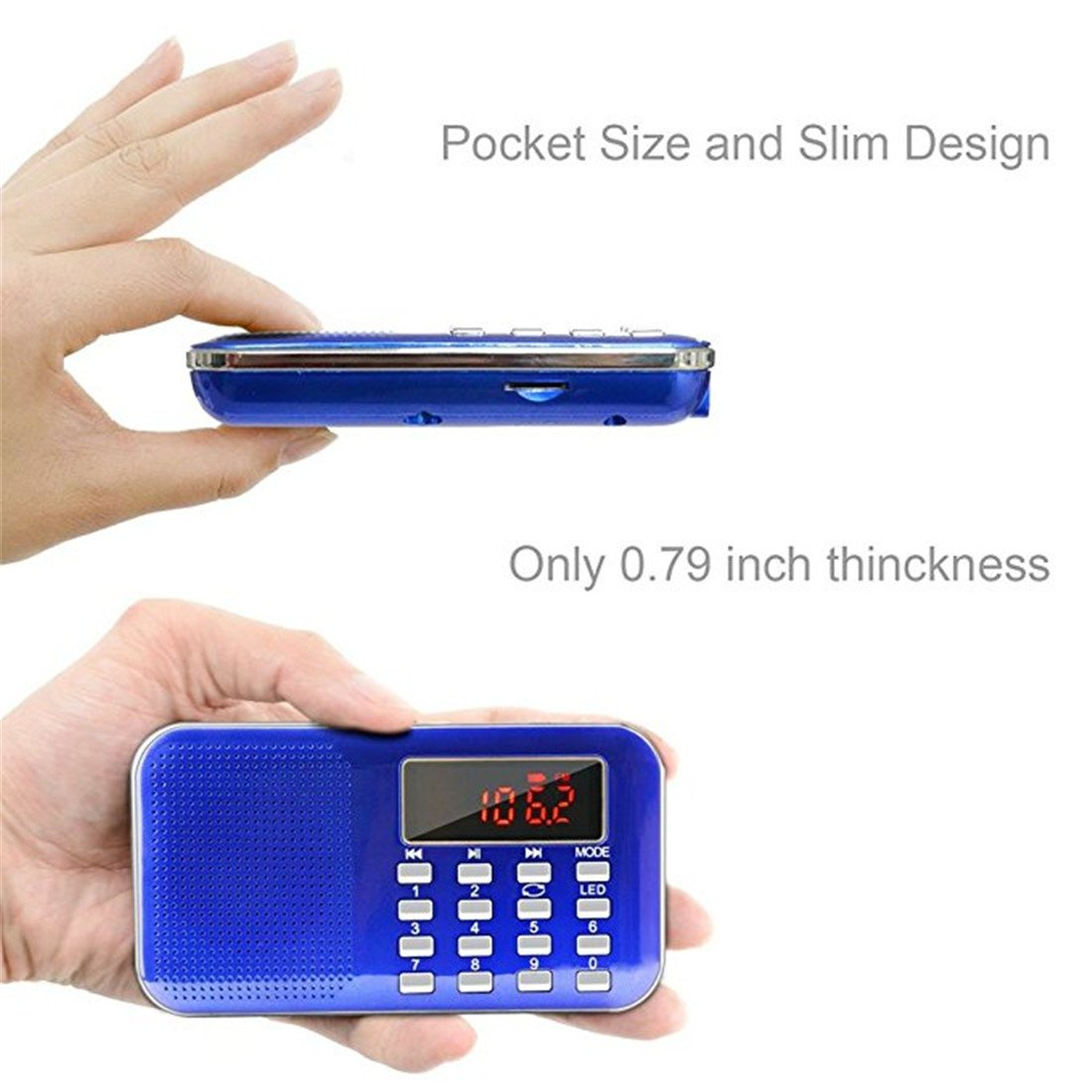 BeiLan Mini Digital AM FM Pocket Radio Portable Speaker Mp3 Music Player Stereo Sound Support TF Card USB Disk with LED Screen Display and Emergency Flashlight Function (Blue) by BeiLan (Image #4)