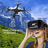 VR Drone Camera Live Video,HT Drone Quadcopter Altitude Hold,3D Flip,Camera Drone VR Headset Kids