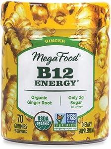 MegaFood, Certified Organic B12 Energy Ginger Gummies, Soft Chew Vitamin B12 Supplement for Cellular Energy Support, Vegan, 70 Gummies (35 Servings)