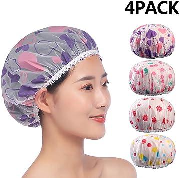 1 o 4 Pack Gorros de baño Gorros de ducha Impermeable EVA Plástico ...