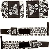 Wrist Wraps (1 Pair/2 Wraps) for Weightlifting/Cross Training/Powerlifting/Bodybuilding -Women & Men-Premium Quality Equipment & Accessories Avoid Injury During Weight Lifting-(Skulls)-1 Year Warranty