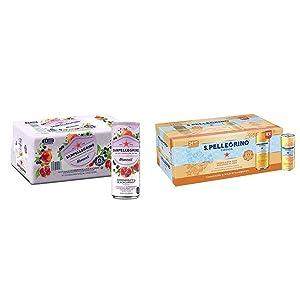 Sanpellegrino Momenti Pomegranate & Blackcurrant Cans, 11.15 Fl Oz (24 Pack) & S.Pellegrino Essenza Tangerine & Wild Strawberry Flavored Mineral Water, 11.15 fl oz. Cans (24 Pack)