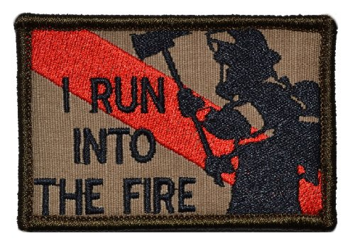 Firefighter/Run Into the Fire Thin Red Line 2x3 Morale Patch - Multiple Colors - Coyote Brown -