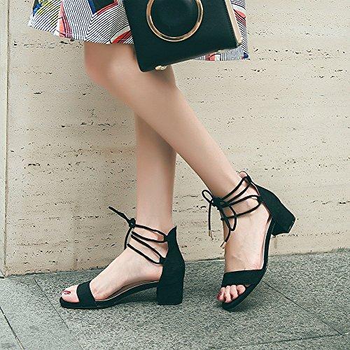 Ruiren Heel Cheville Cm Chaussures Soirée la Bloc Dames Toe Peep Femmes Bride noir à Talon de Sandales 7 Height Strappy rxwrZAqYB