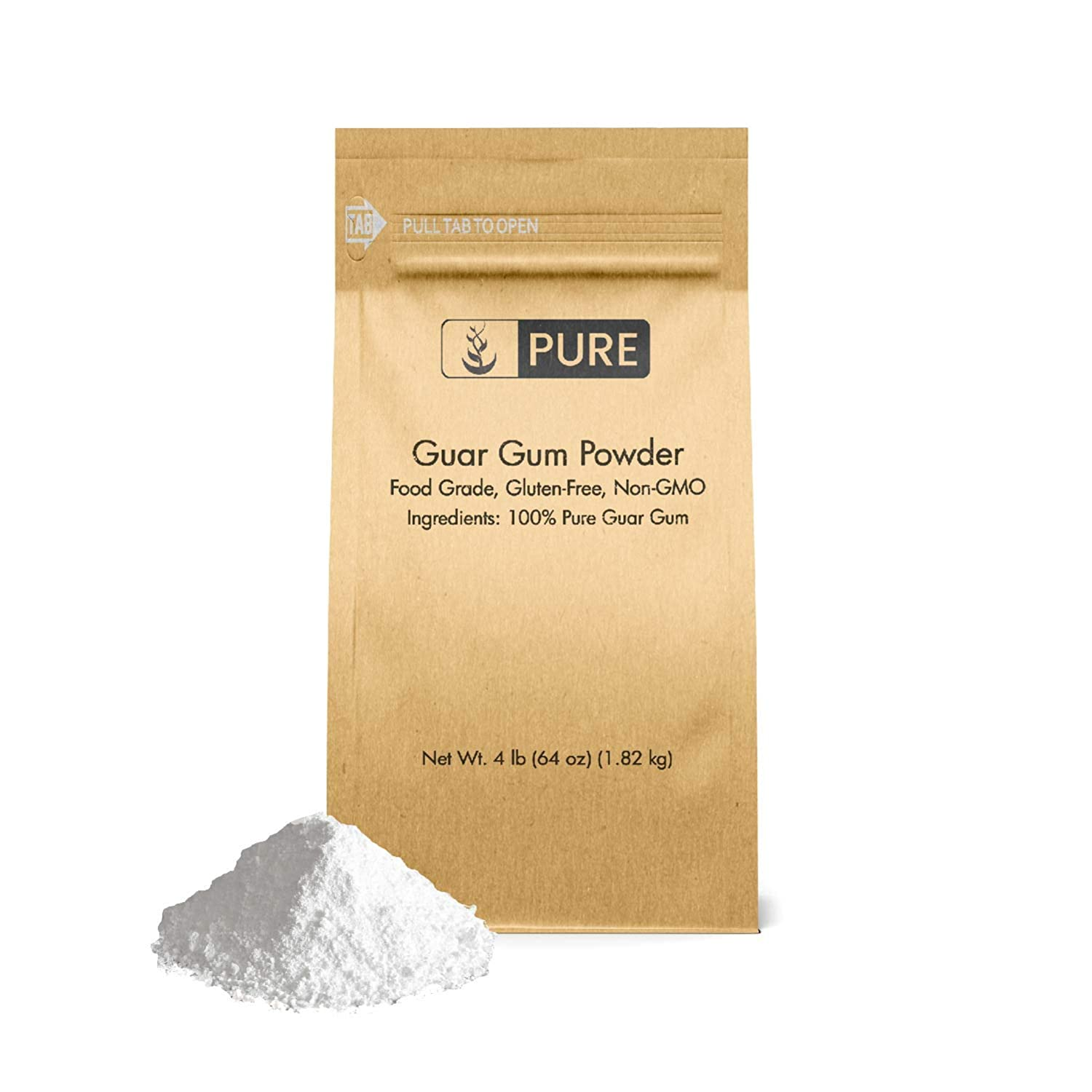 Guar Gum Powder (4 lb.) by Pure Ingredients, 100% Food Safe , Gluten-Free, Non-GMO, Thickening Agent