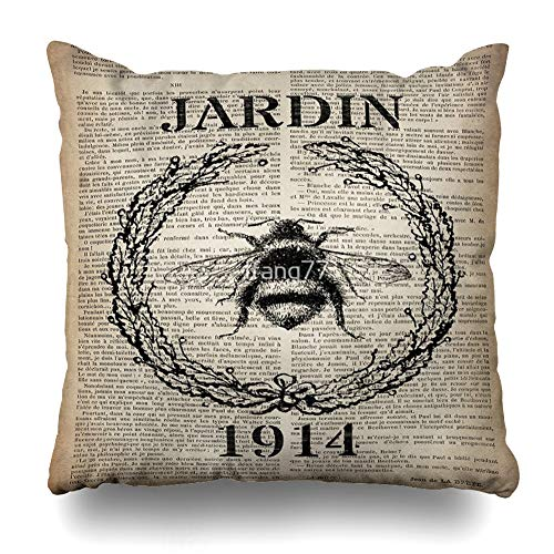 Ahawoso Throw Pillow Cover Square 16x16 Inches Newspaper Print French Country Paris Vintage Bee Decorative Pillow Case Home Decor Pillowcase